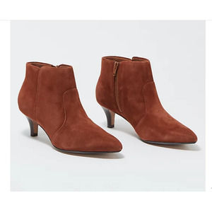Clarks Linvale Mahogany Suede Booties 5M